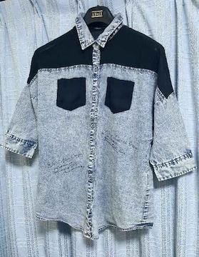 七分袖★肩透き★英字★ブラウス/Mサイズ