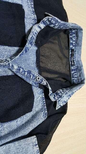 七分袖★肩透き★英字★ブラウス/Mサイズ < 女性ファッションの