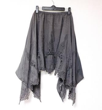 TheVirgniaグレーアシンメトリーフラワー刺繍フレアスカート