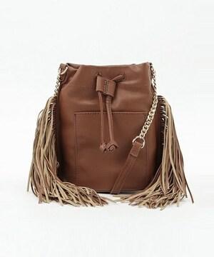 新品タグ付VISビスフリンジショルダーバッグ茶ブラウンカバン鞄フェイクレザー