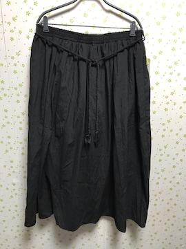 4Lサイズ シャンブレー素材 紐ベルト付き ロングスカート 黒