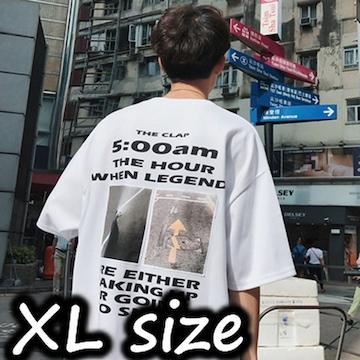 【 ホワイト・XL 】バックプリント Tシャツ メンズ