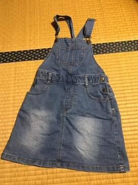 美品 グローバルワーク デニムジャンバースカート キッズ 120130