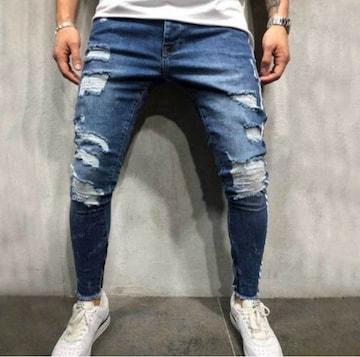 【XLサイズ 】ダメージデニム パンツ メンズ 大人気ダークブルー