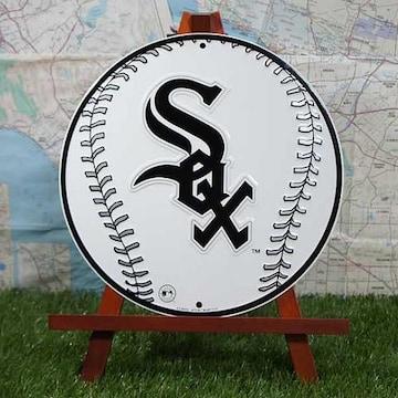 新品【ブリキ看板】White Sox/ホワイトソックス ボール 丸型