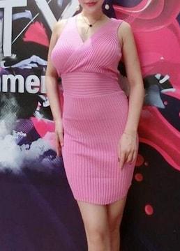 くびれスタイル★カシュクール★リブ ワンピース(ピンク)