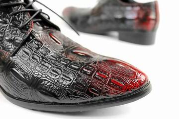 送料無料 クロコ トンガリ ローファー■メンズ シューズ オラオラ ホスト 靴 103 赤-26.0