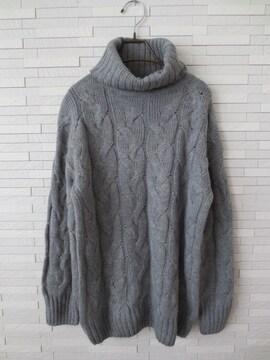 即決/GU/ジーユー/タートルネックケーブル編みセーター/グレー/L