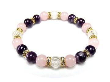 天然石アメジスト/ローズクオーツ/バラ彫り水晶/デザインブレス