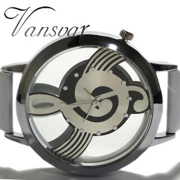 新品・未使用★Vansvar 美しい音符【スケルトン】腕時計 WHITE