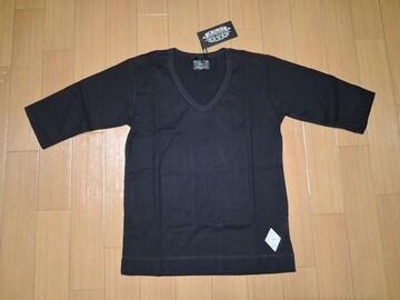 新品CRIMIEクライミーカットソーS黒Vネック5分丈Tシャツ