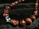 豪華天然石 銀彫龍ブラックオニキス レッドタイガーアイ ネックレス 風水数珠