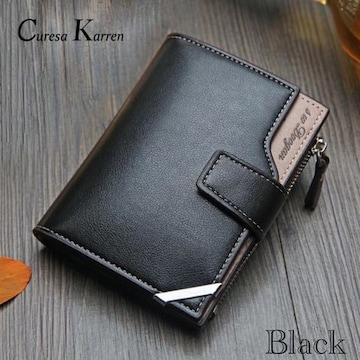 財布 二つ折り財布 レザー 札入れ 小銭入れ カード入れブラック