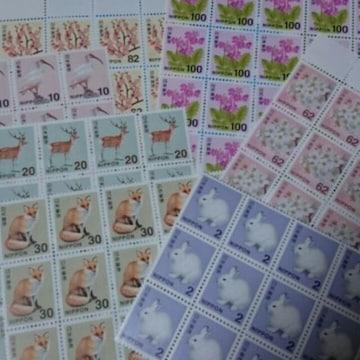 送料無料/普通切手 未使用 額面&絵柄おまかせ 100円分