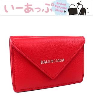 バレンシアガ ミニ財布 財布 三つ折り財布 レッド 極美品 k573