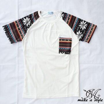 幾何学 エスニック ラグラン Tシャツ TEE 半袖 ホワイト 49XL