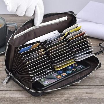 長財布 カードケース36枚 牛革使用 ラウンドファスナー