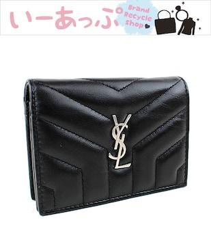 サンローラン ミニ財布 三つ折り財布 ブラック 新品同様 k410
