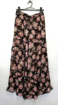 デイシーシフォンワイドパンツフラワー花柄ブラックレテ