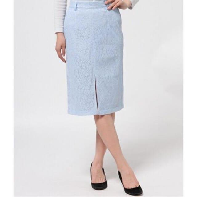 定価8,040円【新品未使用】レースミモレ丈タイトスカート Blue < ブランドの