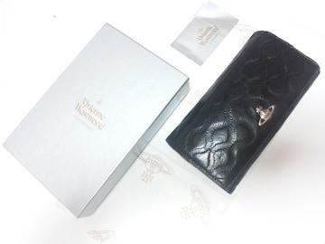10967/ヴィヴィアンウエストウッド★男女兼用シリーズブラックレザー革の長財布
