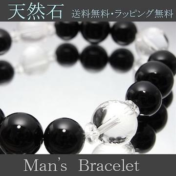 新作水晶数珠ブレス極上オニキスサイズ変更無料