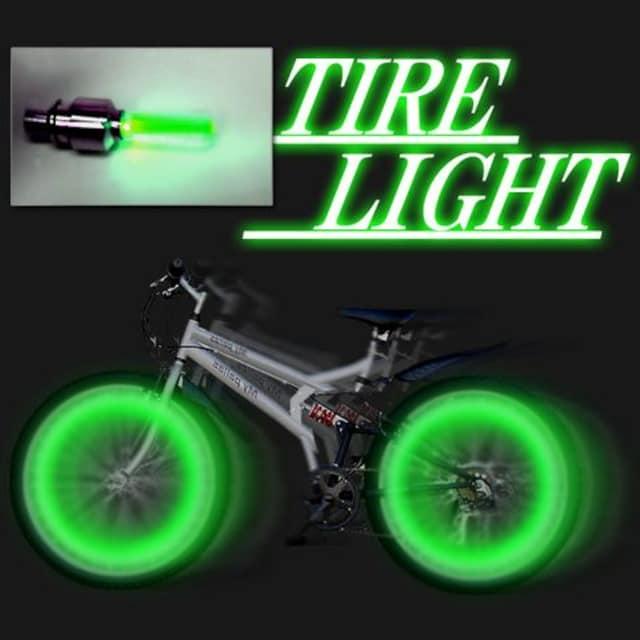 LEDホイールフラッシュ☆グリーン☆2個1セット < 自動車/バイク