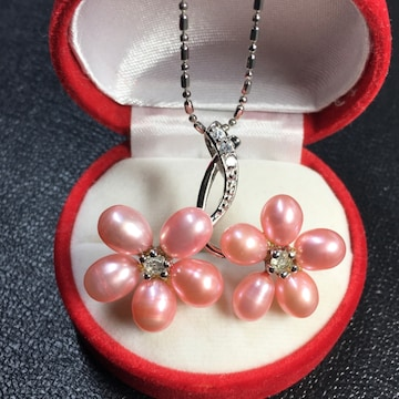 pt プラチナ 本物真珠 桜形 ネックレス ペンダント ピンク