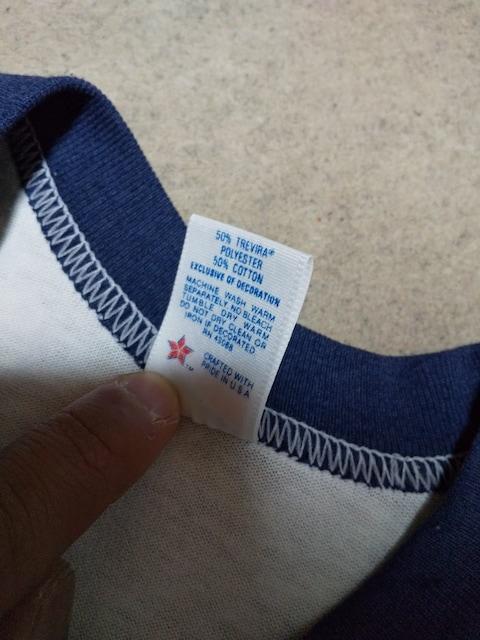 古着 ヴィンテージ ラグラン 七分袖Tシャツ ベースボール Sサイズ 紺×白 アメリカ製 < 男性ファッションの