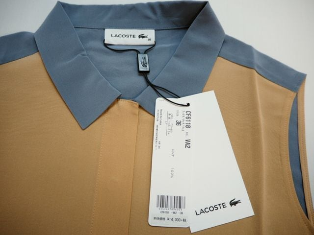LACOSTE ラコステ シルクノースリーブ ブラウス S(36) < ブランドの