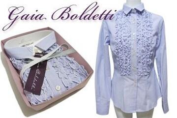新品Gaia Boldettiイタリア製フリルシャツブラウス#42青