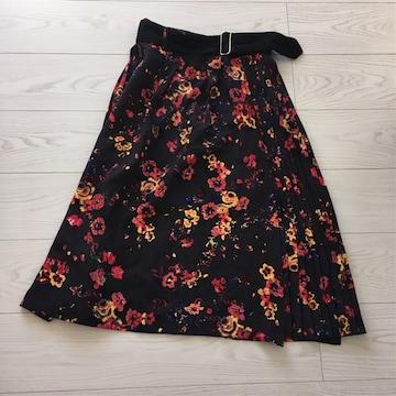 EMODAエモダMサイズ丈72身幅33ベルト付き花柄プリーツスカート