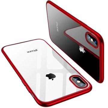 iPhone X 専用ケース 高品質TPU/背面クリア+メッキ枠 Qi 赤