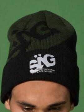☆新品SAG LiFE黒×グリーンロゴニットワッチ、ニット帽☆ユニセ