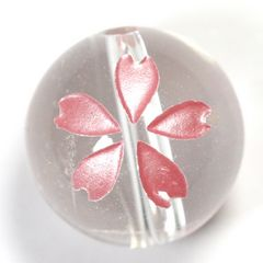 ☆桜の彫りビーズ☆天然水晶12mm@1輪
