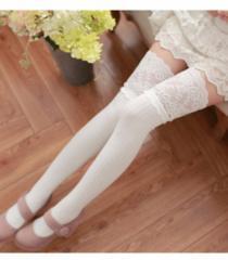 新品【7406】白フリルレース付リブ綿混素材★ニーハイソックス