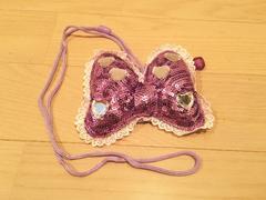 紫ミニーちゃんリボンハートビジューコインパスケースショルダー