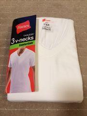 へインズシャツVネック 白 3枚パック Lサイズ