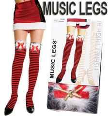 8a9)クリスマスMUSICLEGSファー付ボーダータイツ黒赤サンタクロース衣装コスプレB系