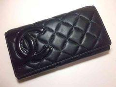 CHANEL カンボンライン 黒×黒 二つ折り 長財布 がま口