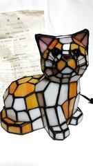 正規良 限定 ティファニー アンティーク ステンドグラス×ランプ キャット 猫 付属有