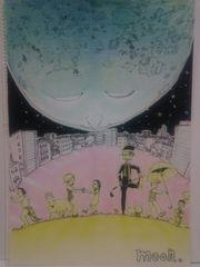 オリジナルイラスト 手描きイラスト 自作moon.月ハンドメイド衛星色鉛筆絵原画アート