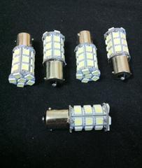 24V用 S25 LED 27連 シングル球 ホワイト 4個+保障1個 (計5個)