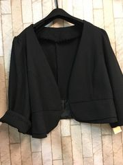 新品☆3L黒ボレロノーカラージャケット パーティワンピに☆g521