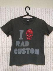 RAD CUSTOM 130�p男の子半袖Tシャツ スパンコールのスカル
