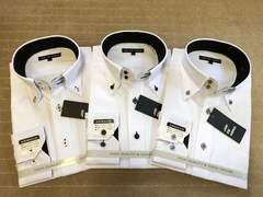 長袖ワイシャツ新品 襟裏黒 3枚セットLサイズ