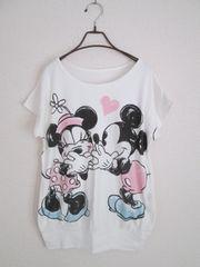 即決/Disney/薄手トレーナー半袖ミッキーミニーTシャツ/白/M