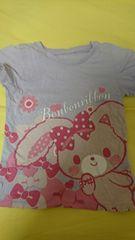 即決☆120�aボンボンリボンのパープル半袖Tシャツ