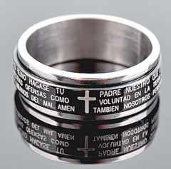 新品 1円〜★送料無料★ 21号 ブラック聖書 十字架回転 リング指輪