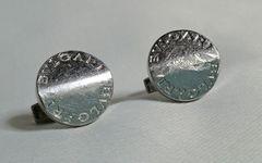 正規レア ブルガリBVLGARI ロゴ文字オーバルカフス SV925 ブランドアイコンカフリンクス